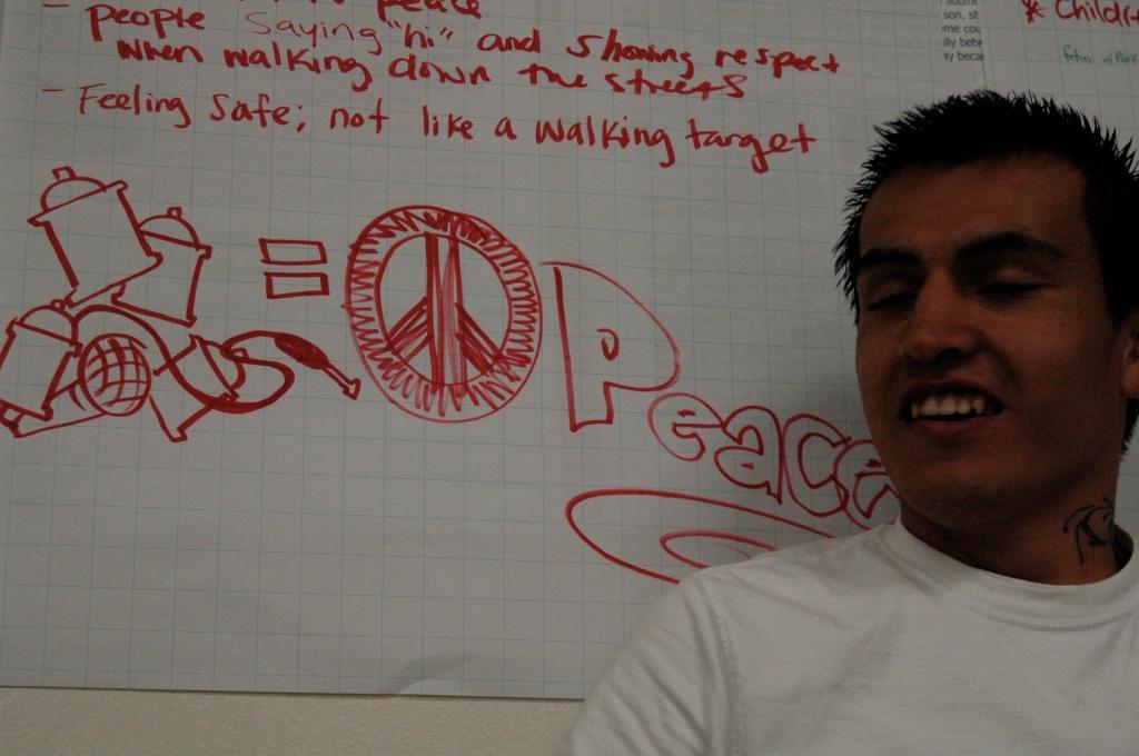 """Daniel Nava of MMAP's Graffiti Art Program (GAP) Says """"His Art = PEACE"""""""